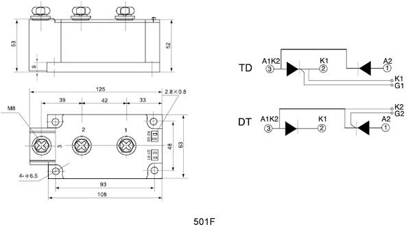 晶闸管模块_普通,整流管混合水冷模块mfc500a1600v
